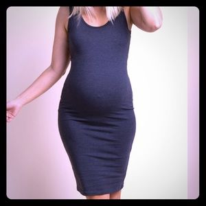 Charcoal Grey Solid Tank Fitted Maternity Dress XS